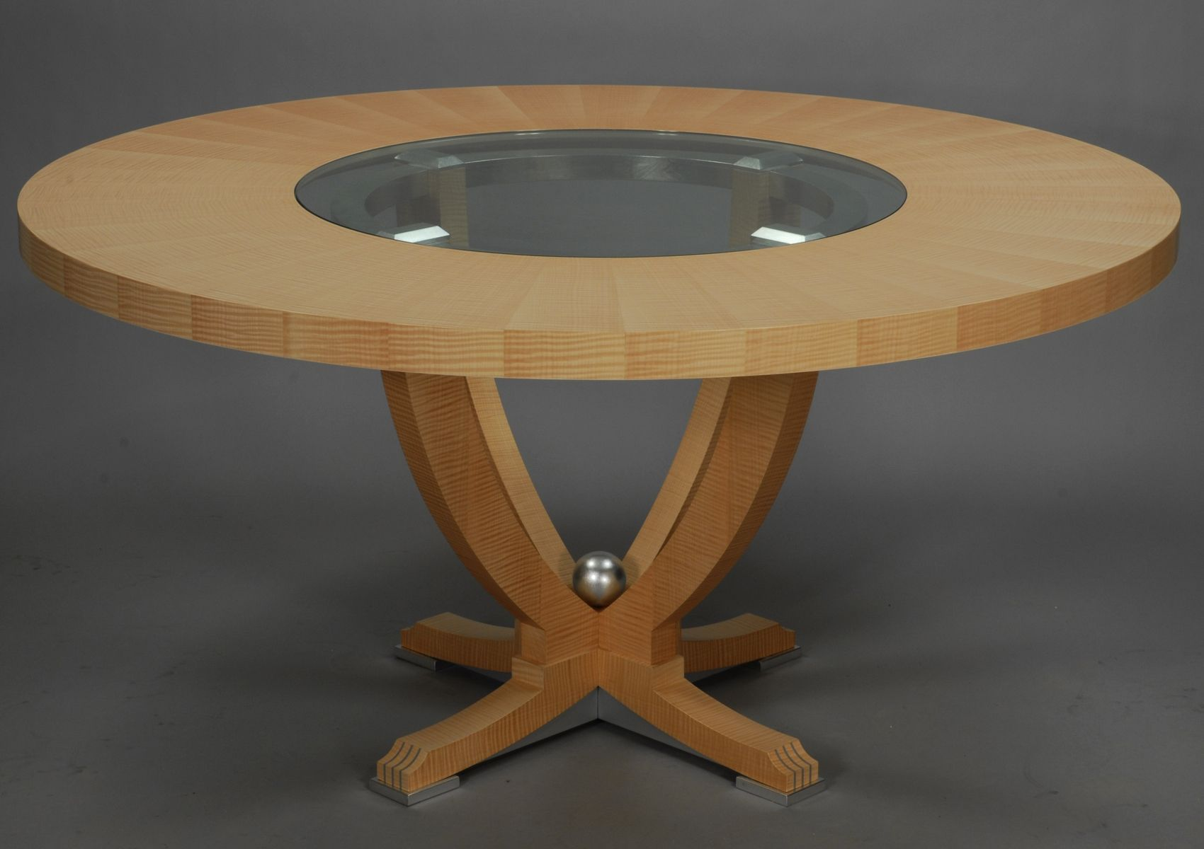 Custom urn dining table with center glass insert by lee for Dining table with leaf insert