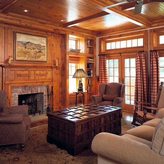 Custom Knotty Pine Paneling & Mantel Family Room By Culin
