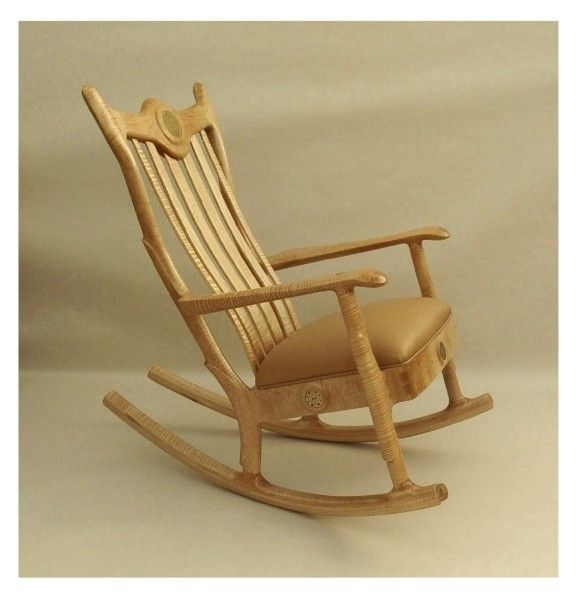 Custom Made Upholstered Seat Rocking Chair By Noble Bear