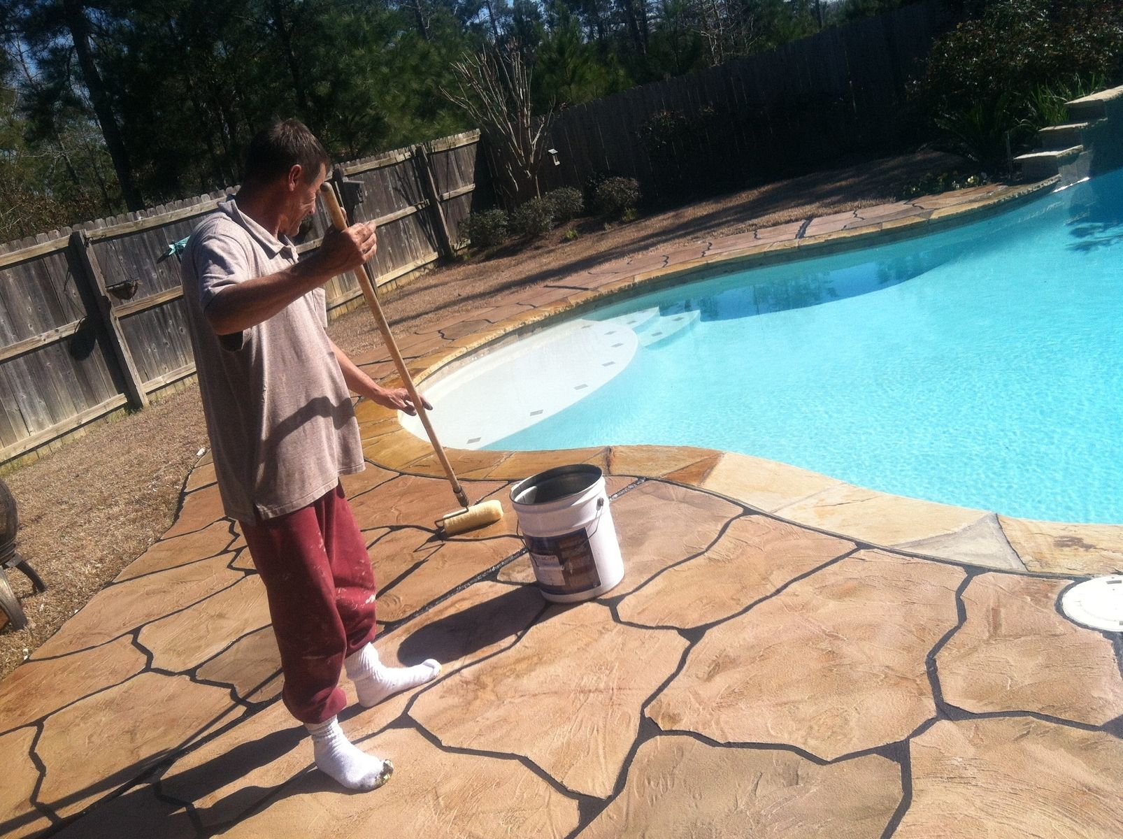 Hand Made Cement Overlay Pool Deck Minden La By