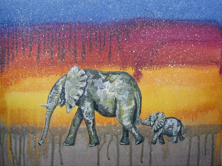 Hand Made Elephant Nursery Art Safari Zoo Animal Jungle