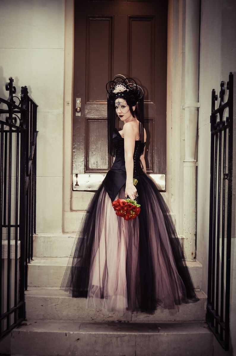 Handmade Pink And Black Alternative Corset Wedding Gown By