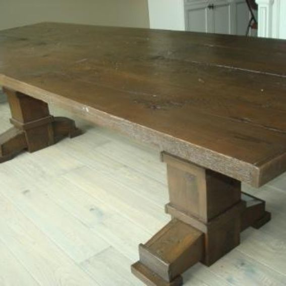 Custom reclaimed wood dining and sofa table set by jay s