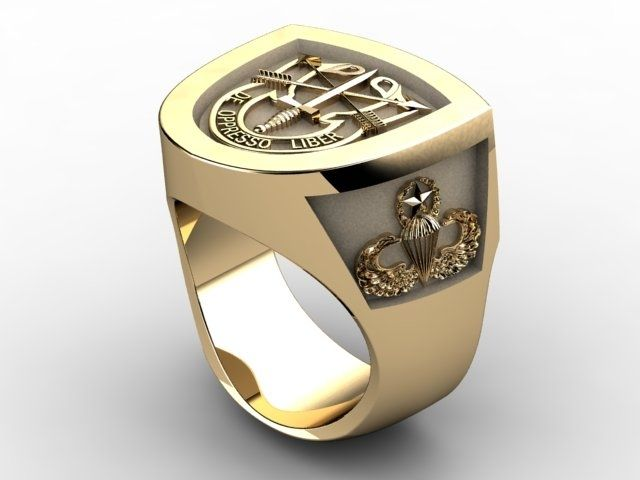 Custom Special Forces Insignia Ring In 18k Yellow Gold By A Jour Jewelry