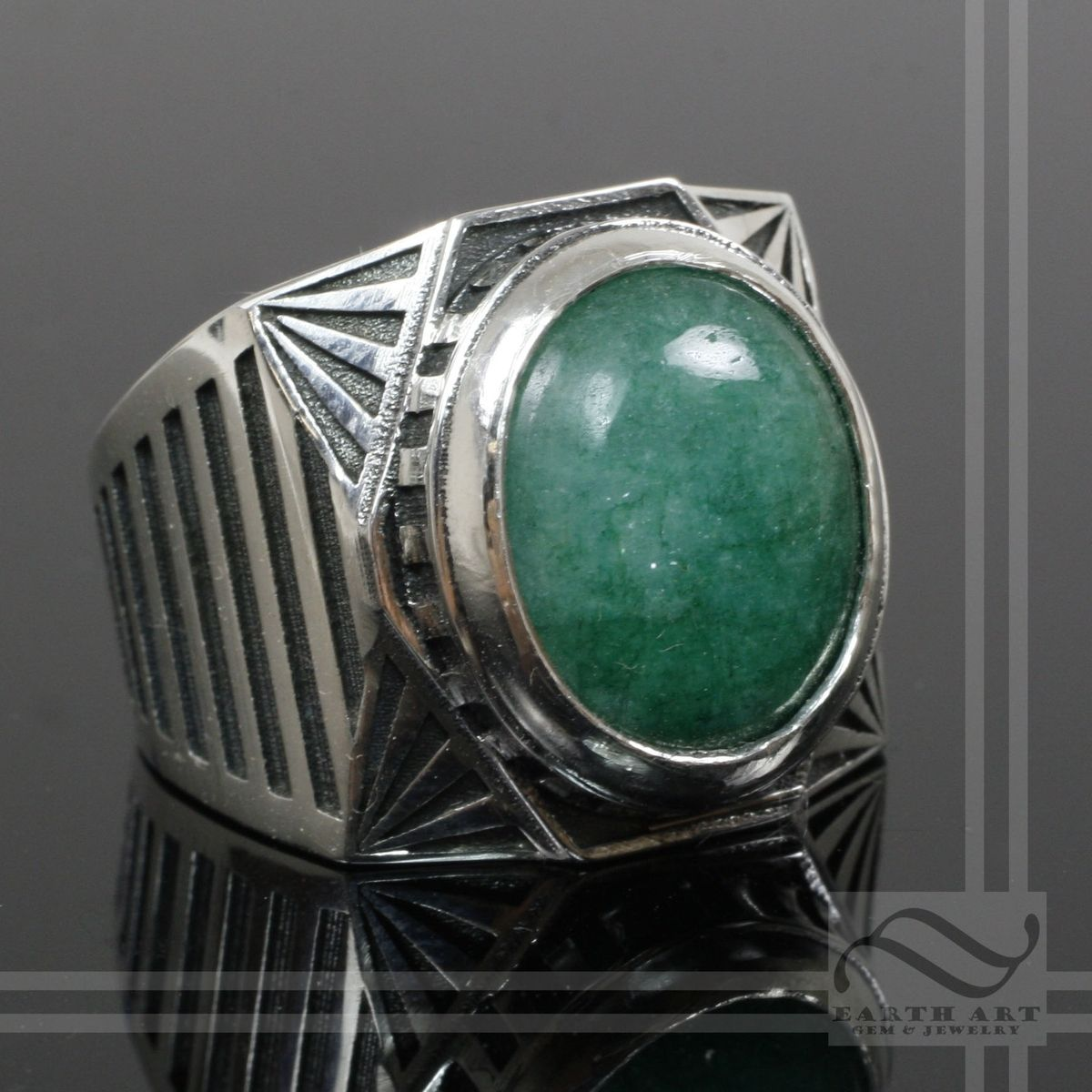 Buy A Hand Crafted Mens Emerald Signet Ring Art Deco