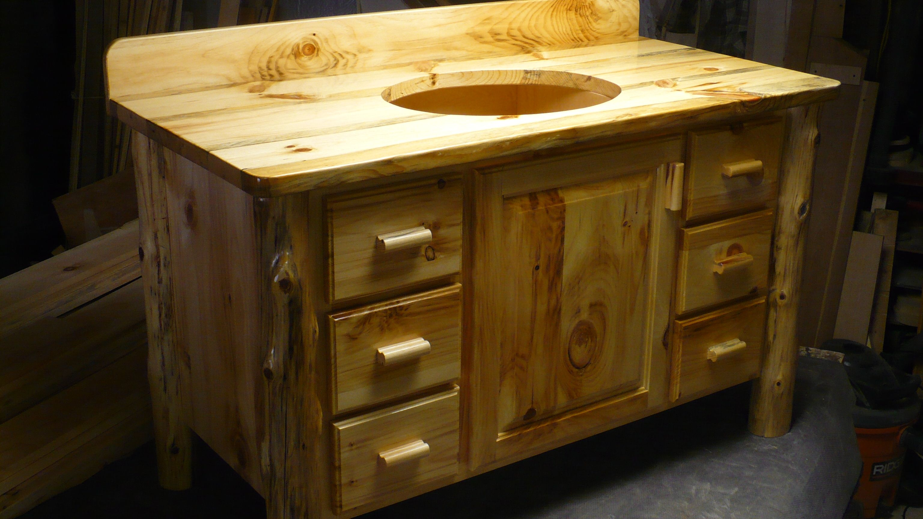 hand made knotty pine bathroom vanity by harry 39 s cabin furniture