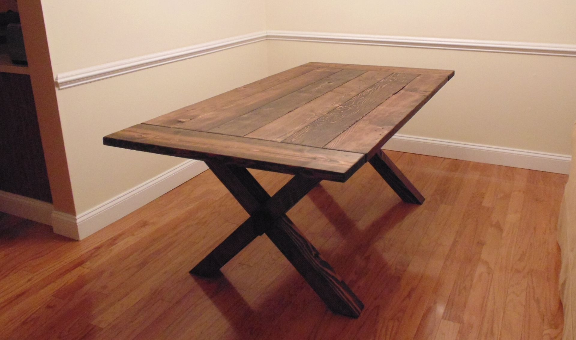 Custom crossed leg trestle style farmhouse table by for Cross leg table plans