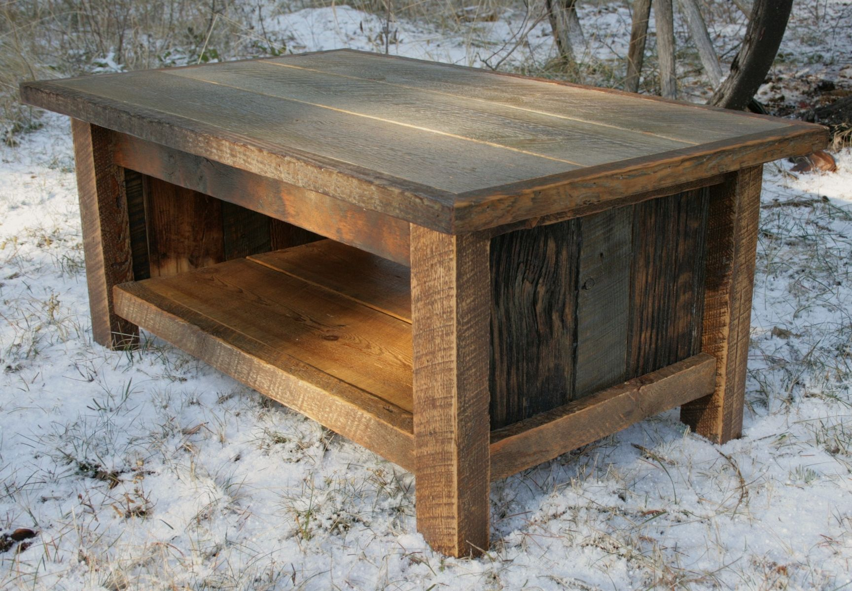 Hand crafted rustic reclaimed coffee table by echo peak for Reclaimed wood table designs