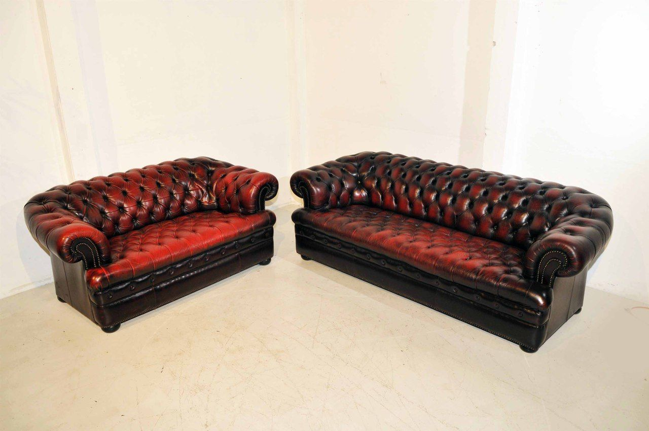 Buy a Hand Made Chesterfield Inspired Sofa And Love Seat Set, made to order from Renewals
