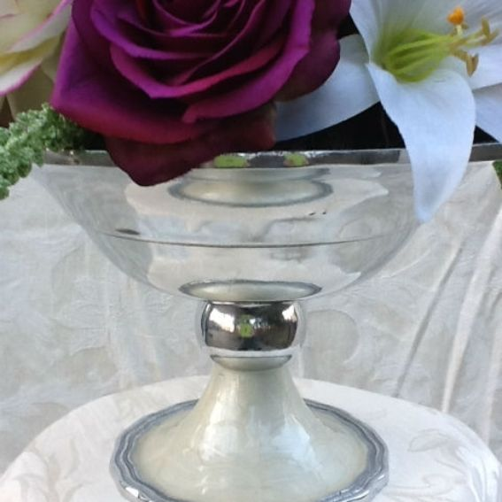 Hand crafted silk floral wedding centerpiece in purple and
