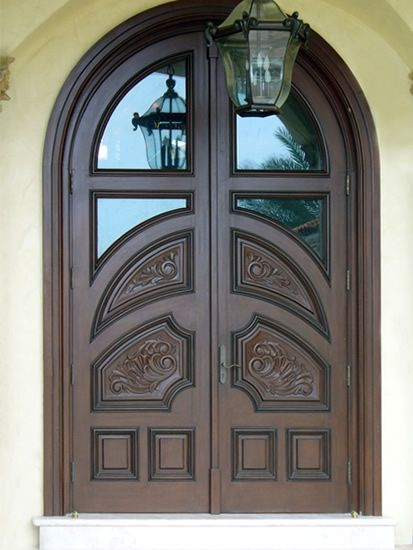 Hand Crafted Hand Carved Mahogany Arched Double Door By