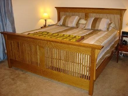 Custom made oak craftsman bedframe queen by edward for Mission style bed frame plans