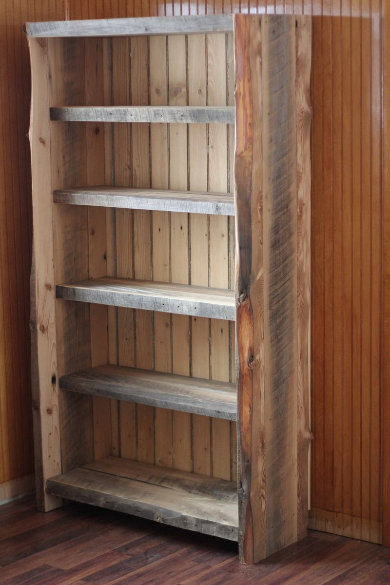 Hand made reclaimed wood bookcase by decorus furnishings for Reclaimed wood bookshelf diy