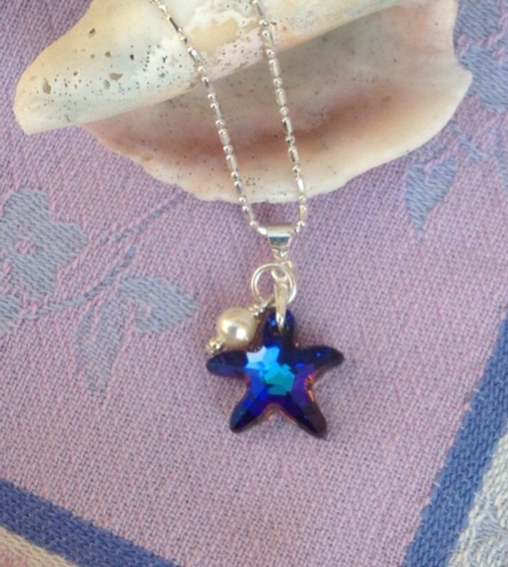 custom blue swarovski starfish pendant with pearl on