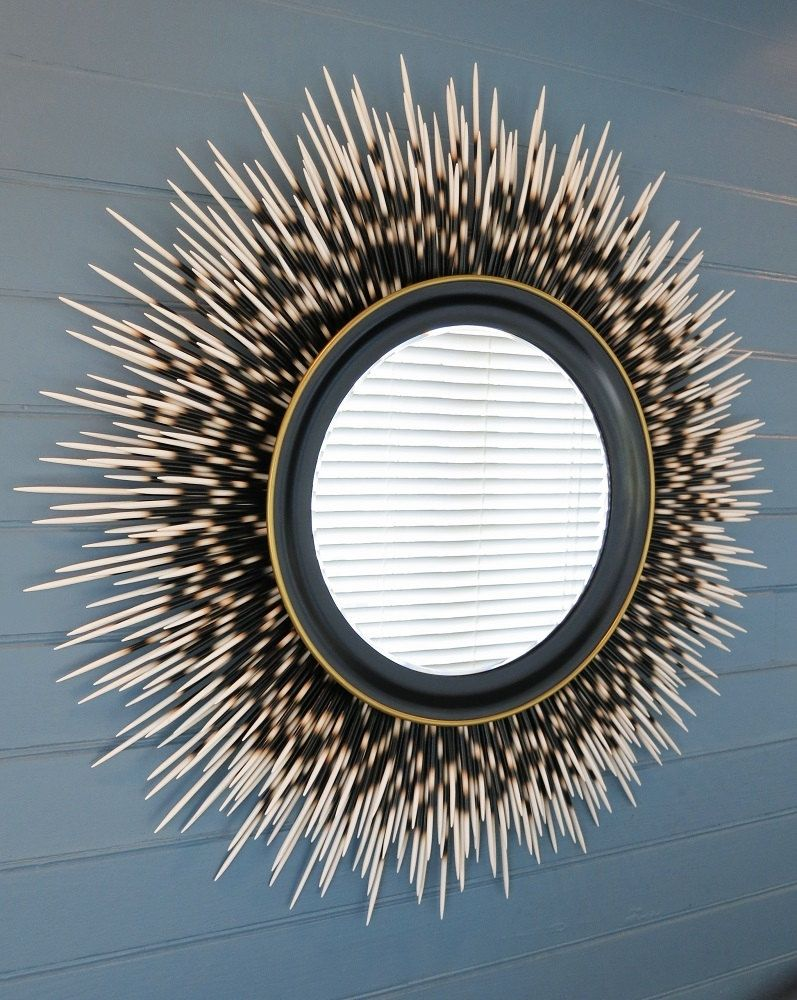 "32 Inch """"Porcupine Quill"""" Mirror: Ivory Tip With Black Frame And Gold Accent Border"