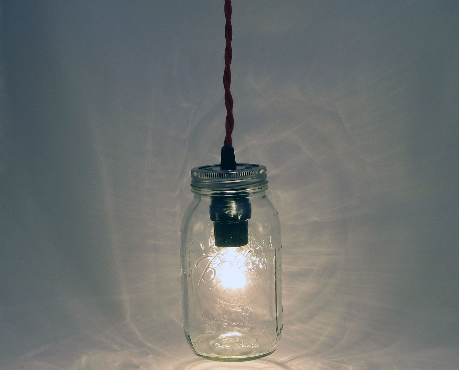 Custom ball mason jar hanging pendant light bmqr rct by for Hanging lights made from mason jars