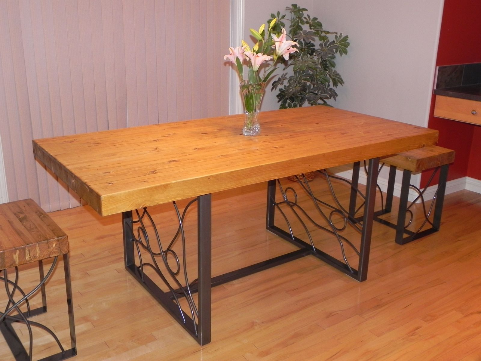 handmade butcher block dining table with bent iron inlaid