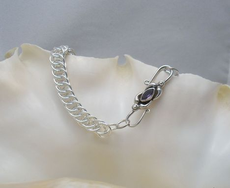 Custom Made Iolite And Sterling Silver Clasp On Argentium Silver Half-Persian
