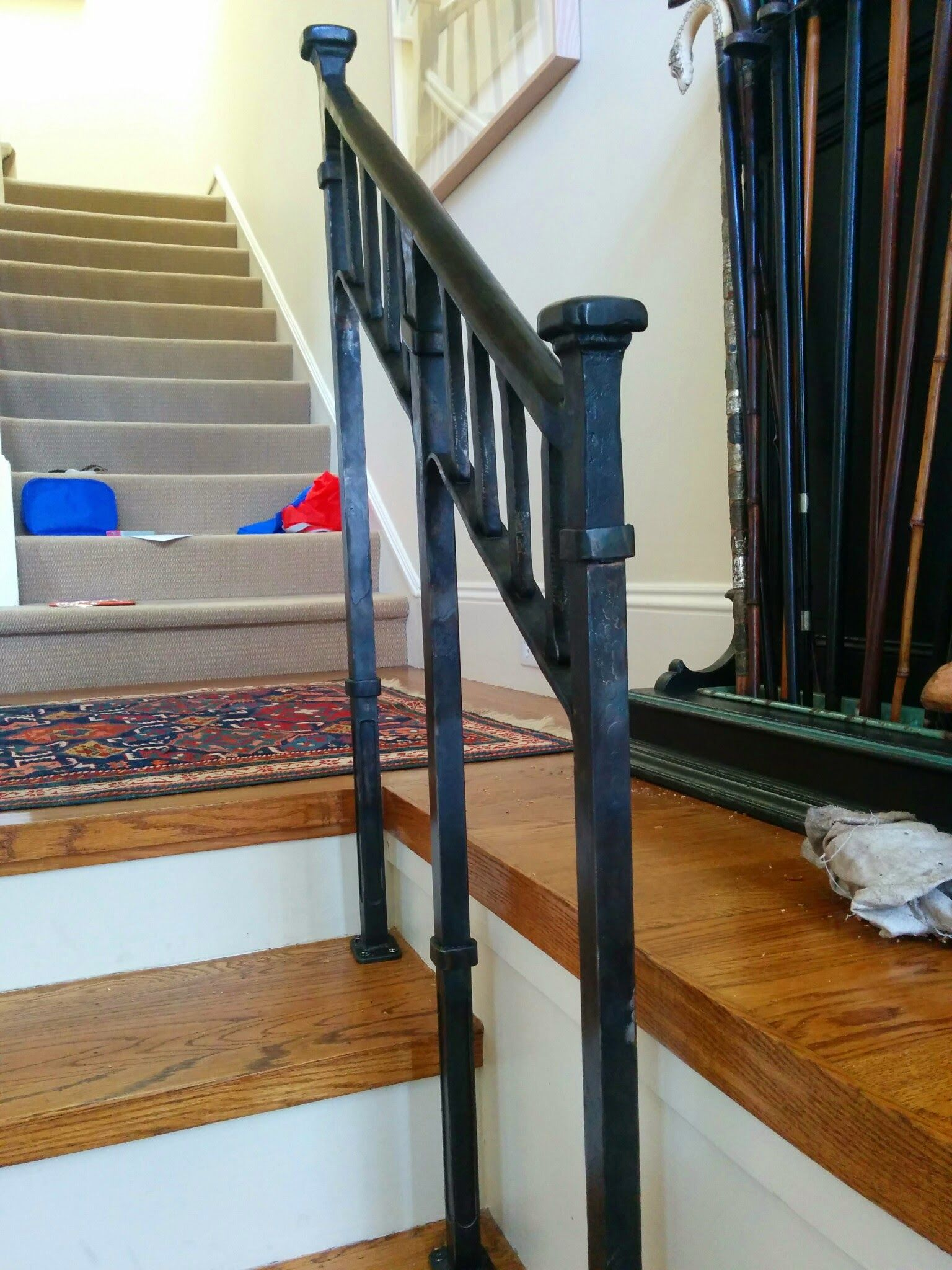 Custom craftsman style stair rail by clay and steel for Craftsman picture rail