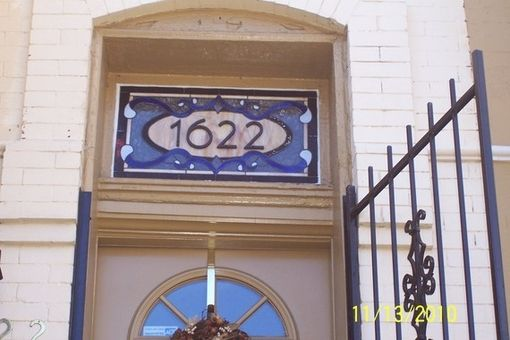 Custom Made Traditional Yet Contemporary Stained Glass Window Transom With House Number