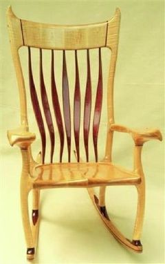 Custom Made Tiger Maple And Purple Heart Rocking Chair