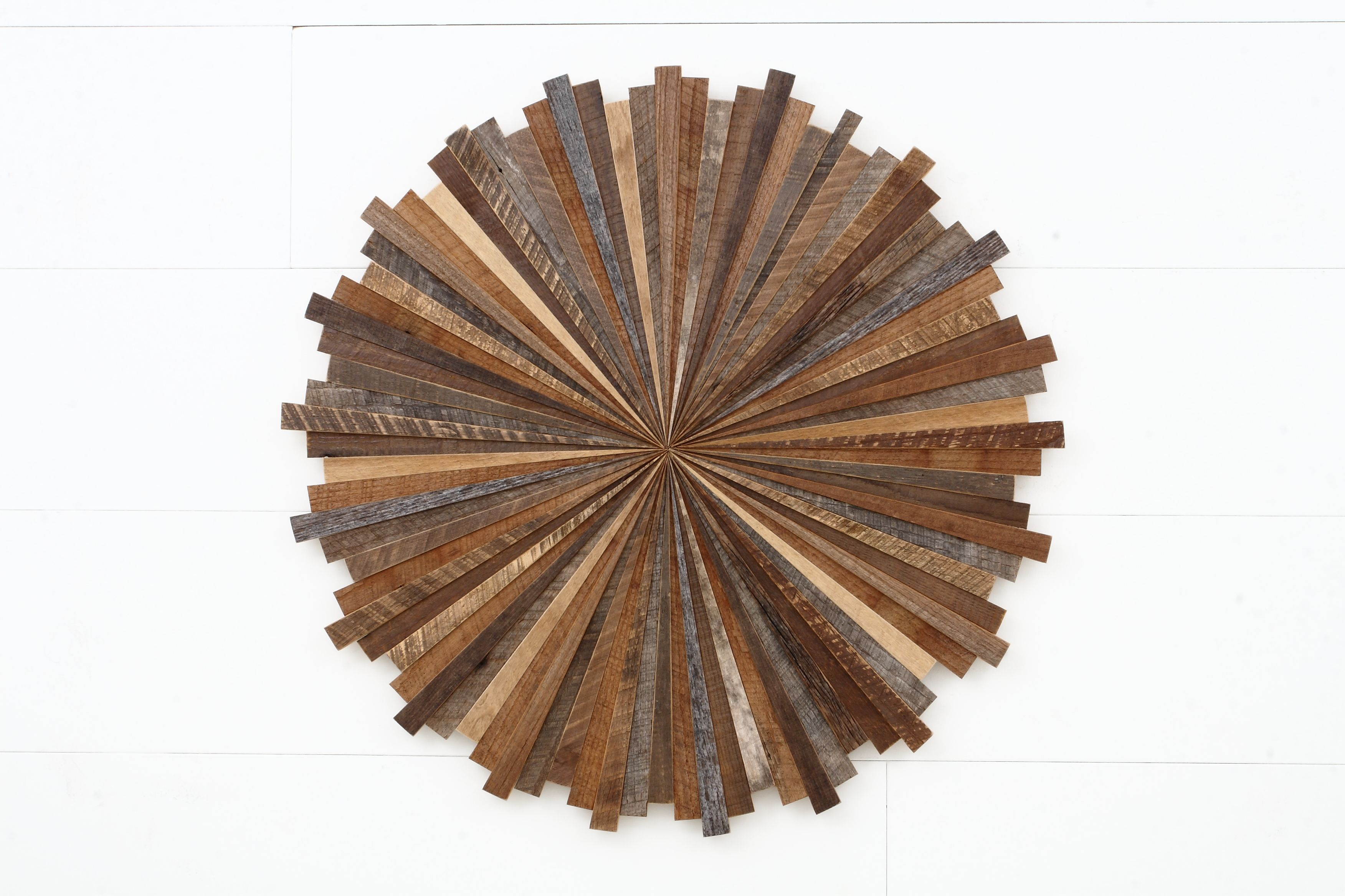 Hand Crafted Starburst Wood Wall Art Made With Old