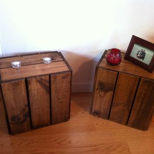 Reclaimed Wood Slatted Bedside Tables by
