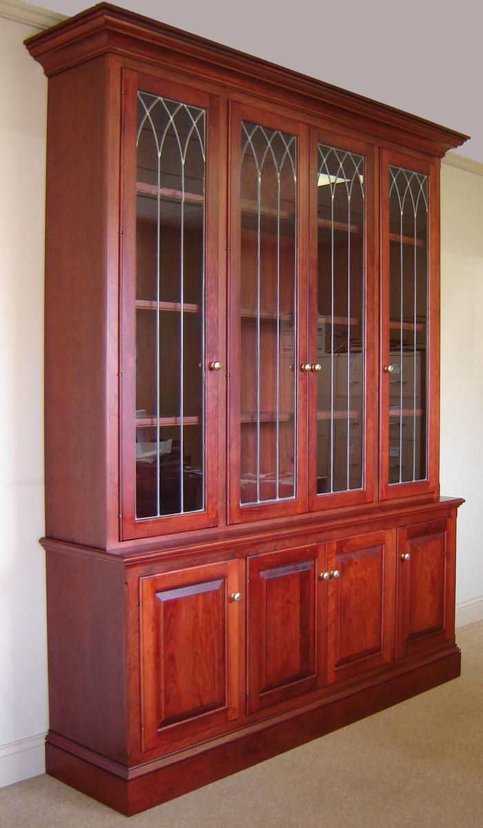 custom made cherry bookcase w leaded glass doors by odhner odhner fine woodworking inc. Black Bedroom Furniture Sets. Home Design Ideas