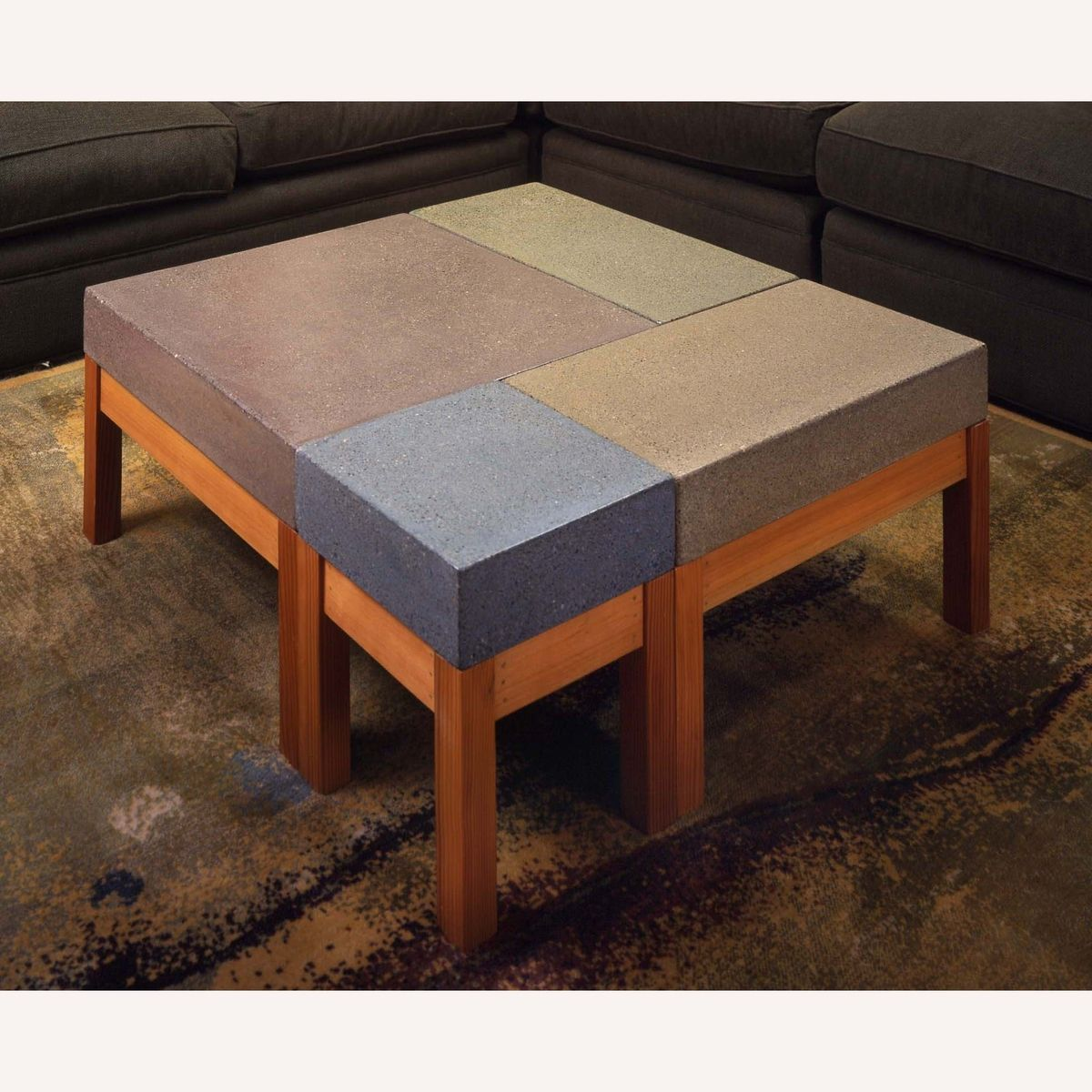 Hand Crafted Concrete Modular Coffee Table By Bohemian Stoneworks
