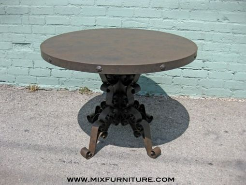 Custom Made Industrial Iron Scroll Work Dining Table