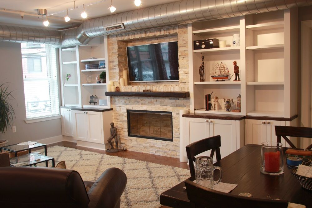 Hand Crafted Hoboken Built In Millwork Wall With Fireplace
