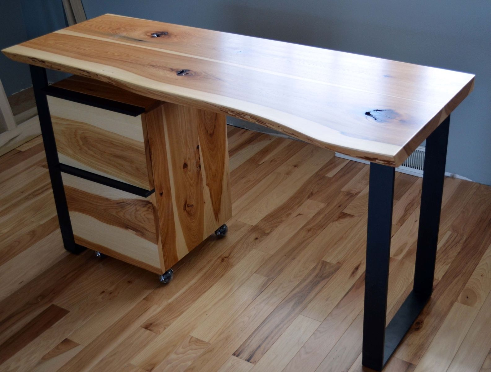 Custom Rustic Hickory And Steel Desk With A Natural Edge