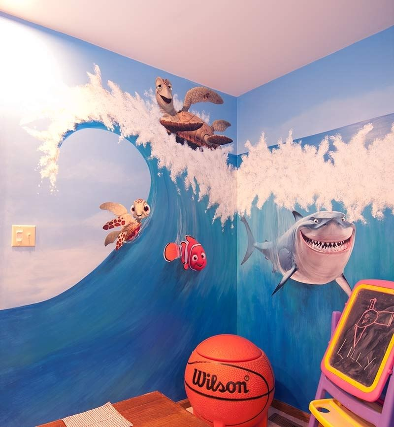 Custom disney playroom murals by the art department for Disney wall mural stickers