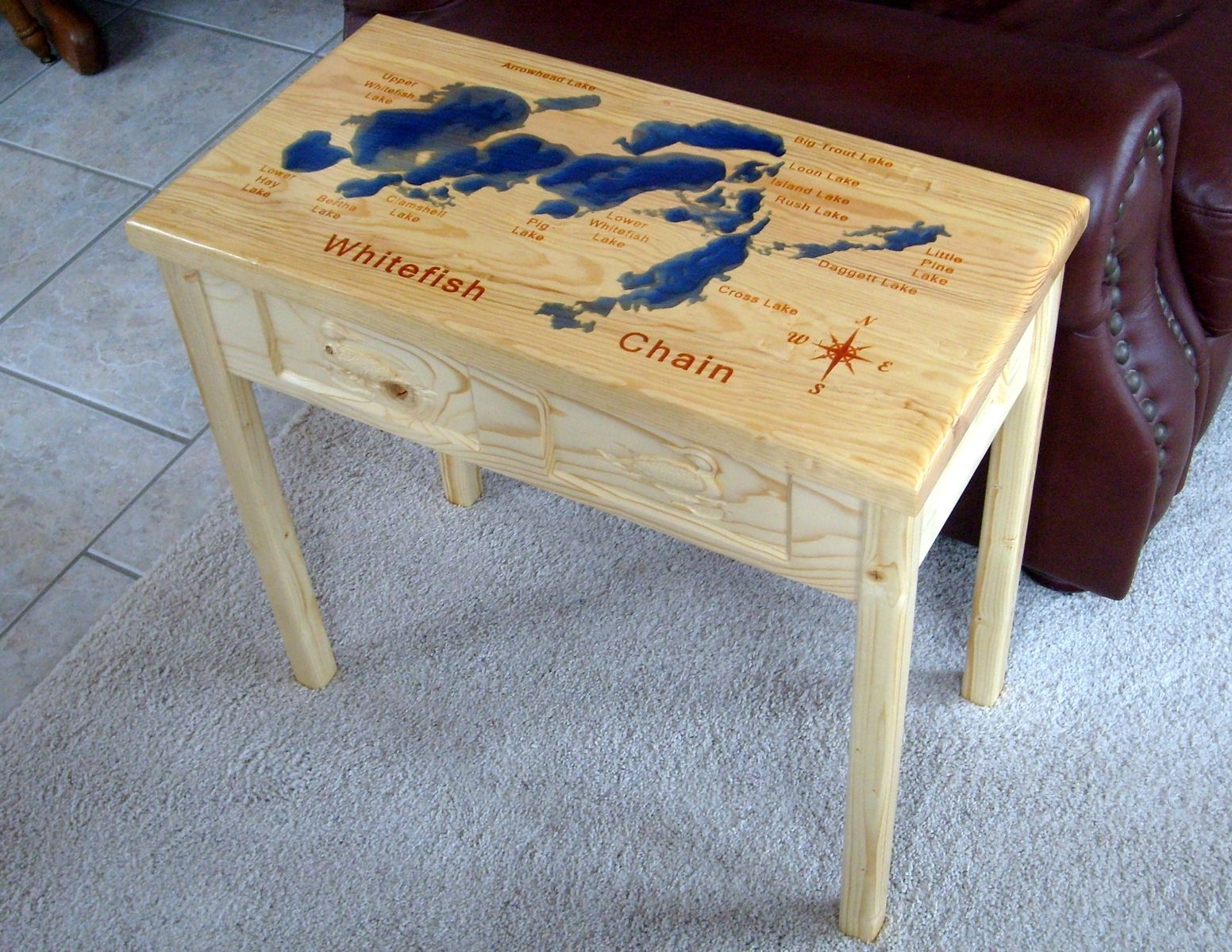 Hand Crafted Lake Map End Table By Carveshop Custommade Com