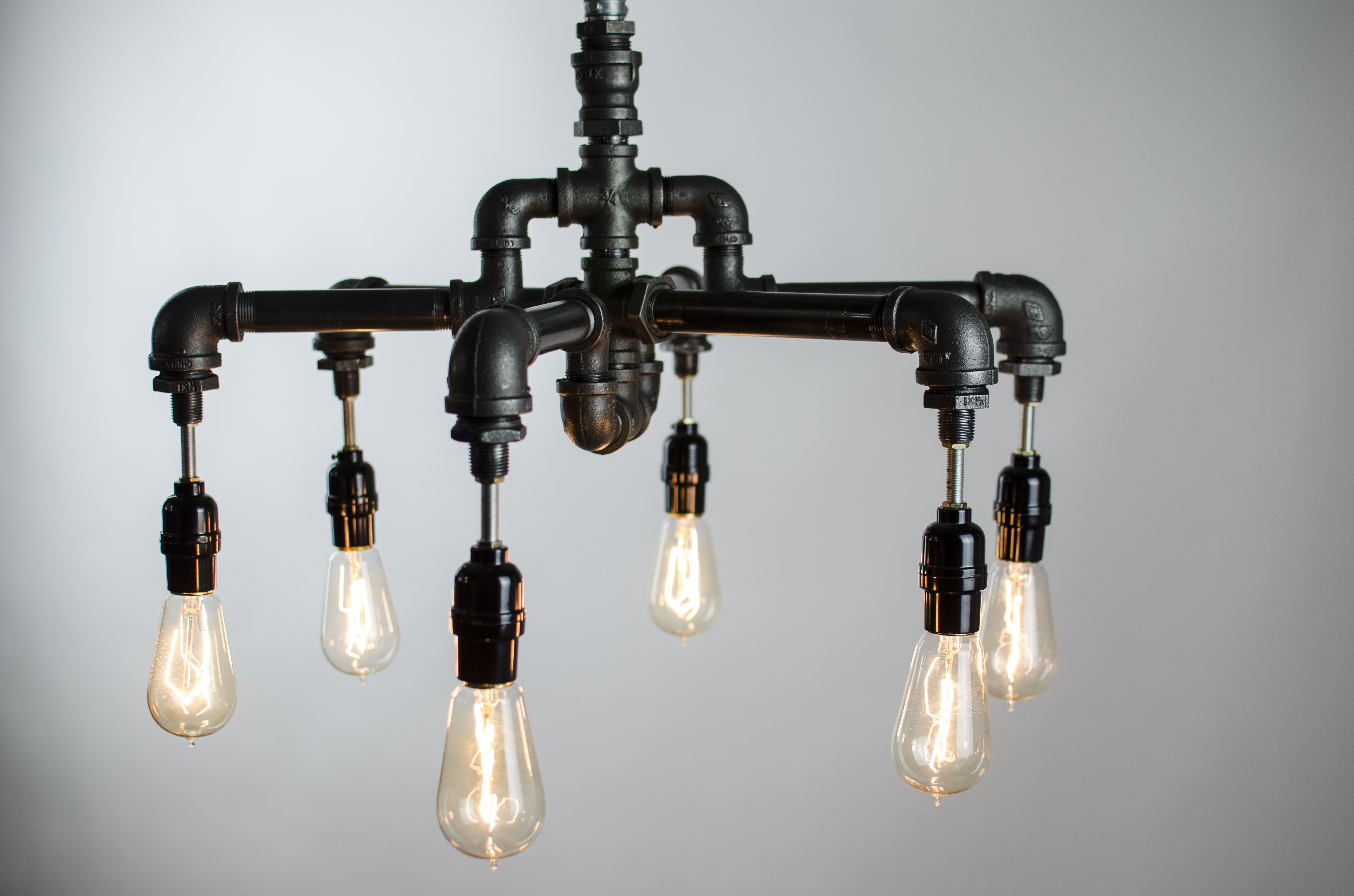 Buy a hand crafted 6 edison bulbs industrial lighting for Black pipe light socket
