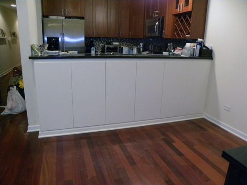 Custom Made Painted Cabinets Under Bar Height Counter