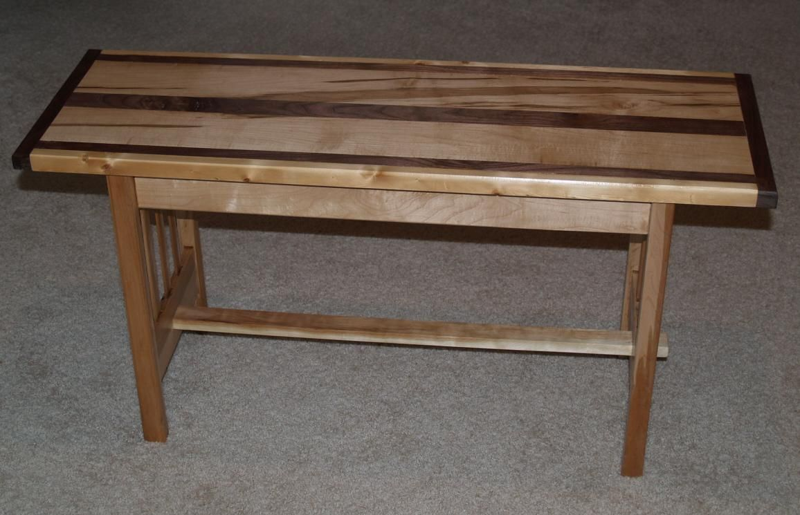 Handmade Maple And Walnut Mission Style Bench By Cannon Custom Woodworking Llc