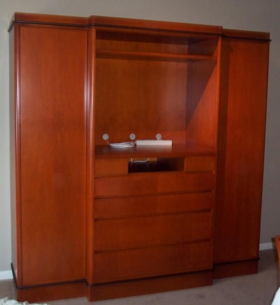 Custom cherry bedroom armoire by gable designs custom cabinetry for Bedroom armoire with tv storage