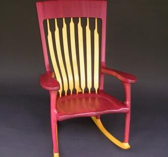 Custom Made Purple/Yellow Heart Rocking Chair