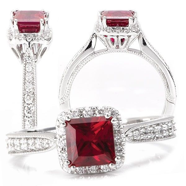 crafted 18k chatham lab grown 5 5mm princess cut ruby