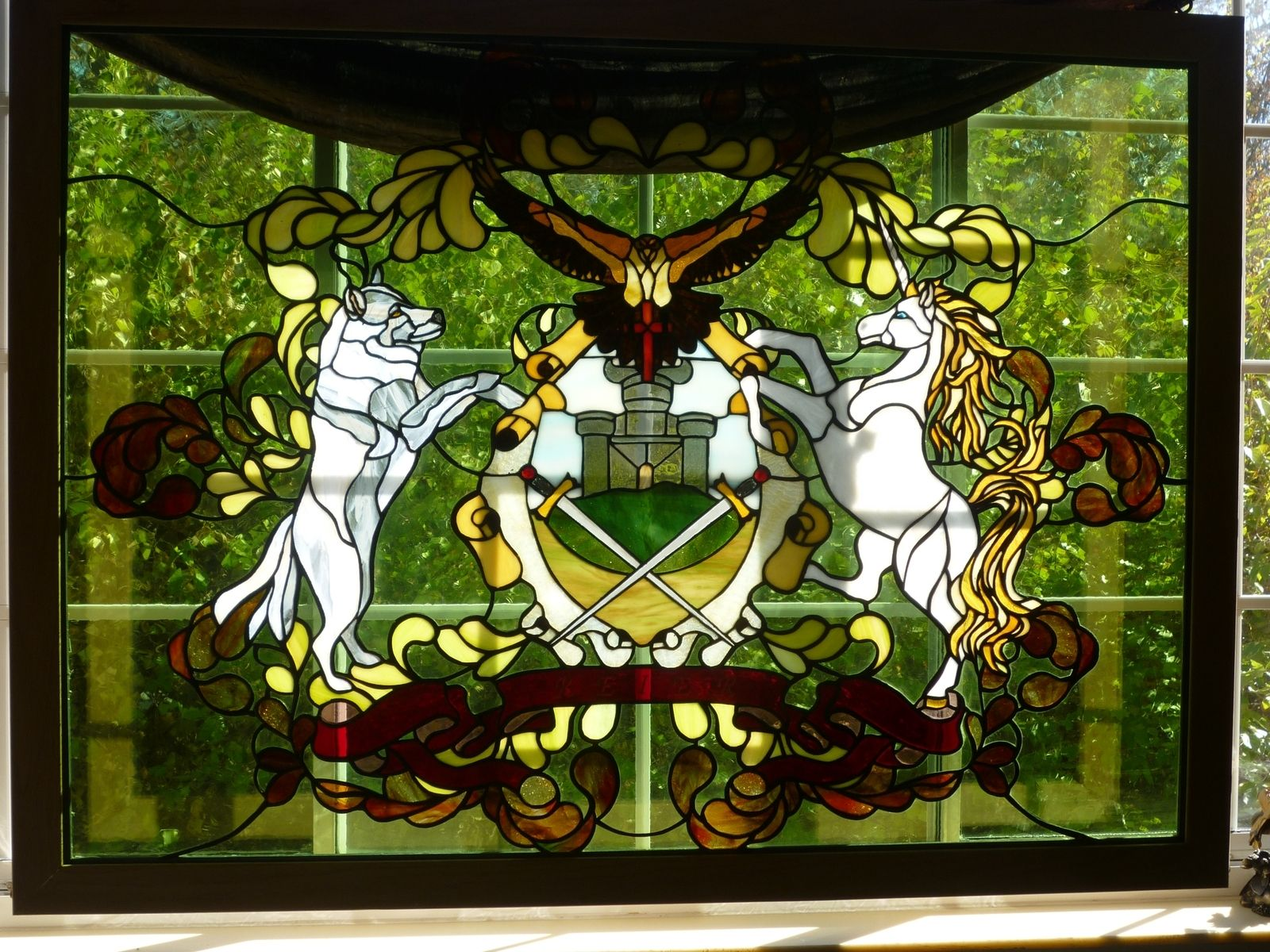 Handmade family coat of arms in stained glass by the last for Custom wood windows online