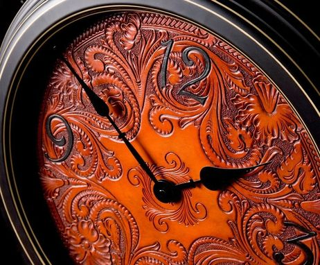 Custom Made Carved Leather Wall Clock