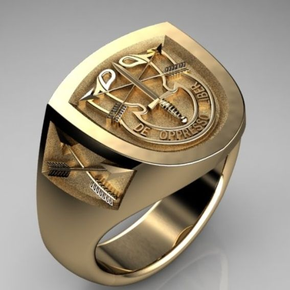 Custom Special Forces Insignia Ring In 18k Yellow Gold By