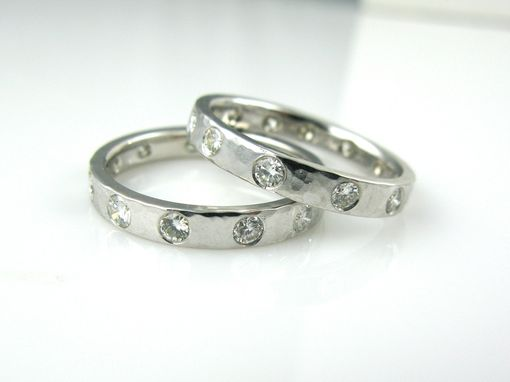 Custom Made Diamond And Gold Hammered Wedding Bands/Ring Guards