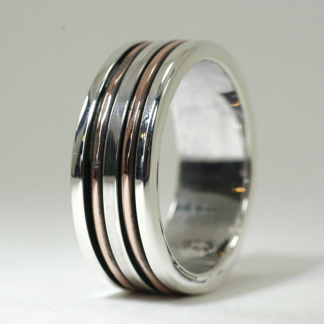 Custom made mens sterling and copper wedding band by earth for Mens copper wedding rings
