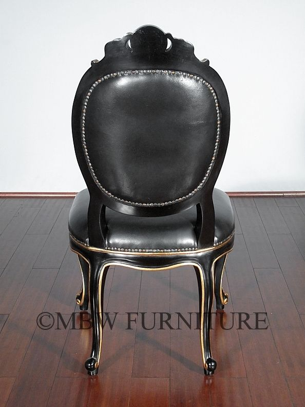 custom made solid mahogany black gold italian genuine leather occasional accent chair by mbw. Black Bedroom Furniture Sets. Home Design Ideas