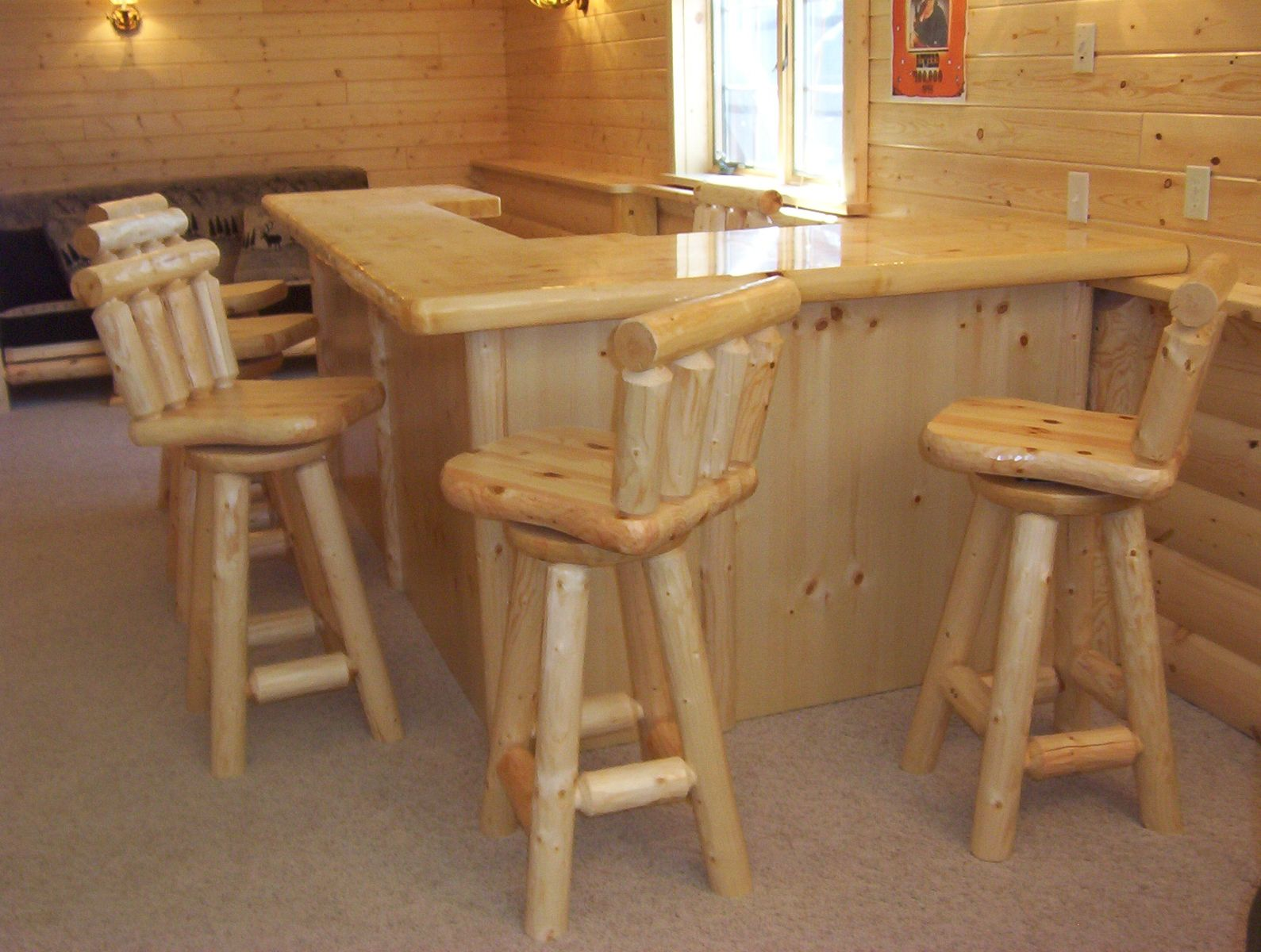 Custom Log Bars And Barstools By Viking Log Furniture