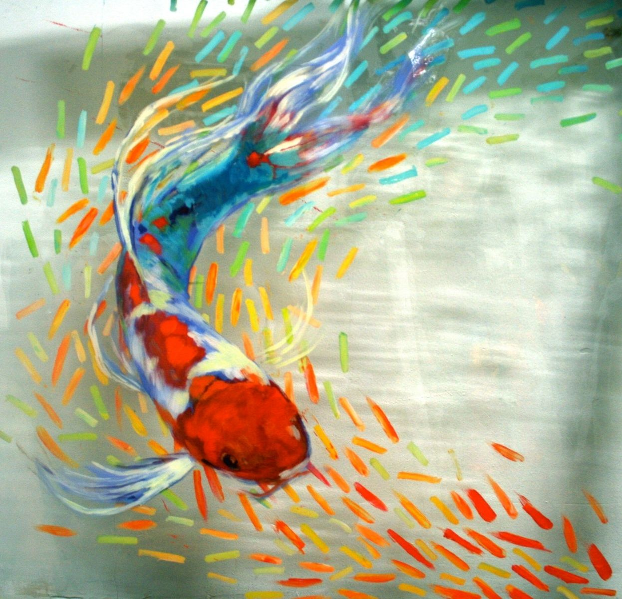 Custom made exuberant goldfish of color original for Koi pool cue