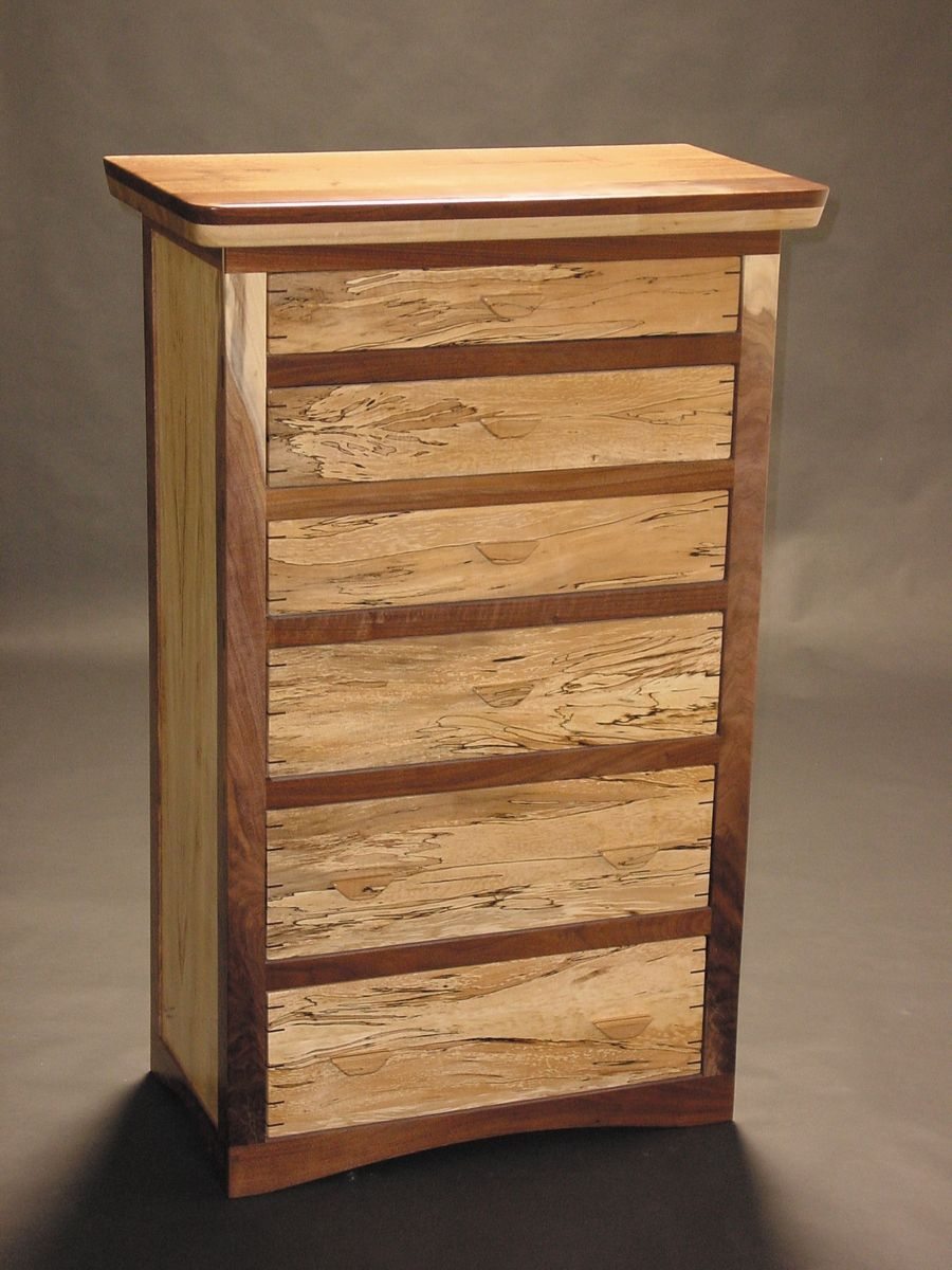 Hand Crafted Black Walnut And Spaulted Maple Dresser By