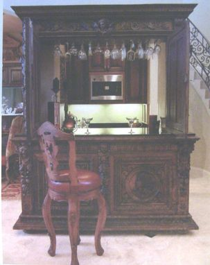 Custom Made Custom Bar Built From French Renaissance Buffet - Retro Fit And Granite Added